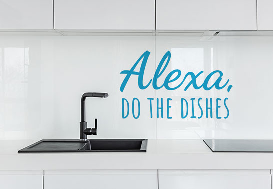Alexa, do the dished funny kitchen wall decal