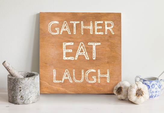 Gather Eat Laugh kitchen wooden decor idea