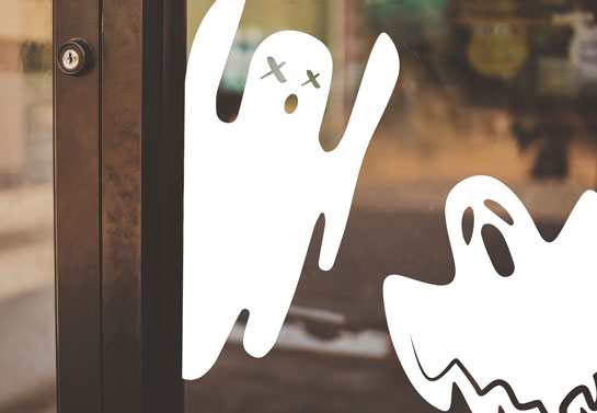 White ghosts cute Halloween window decorations