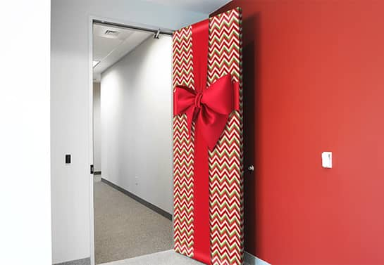 funny office office holiday decorating idea for door