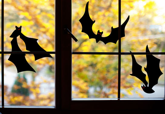 Halloween window decoration with bat shape prints
