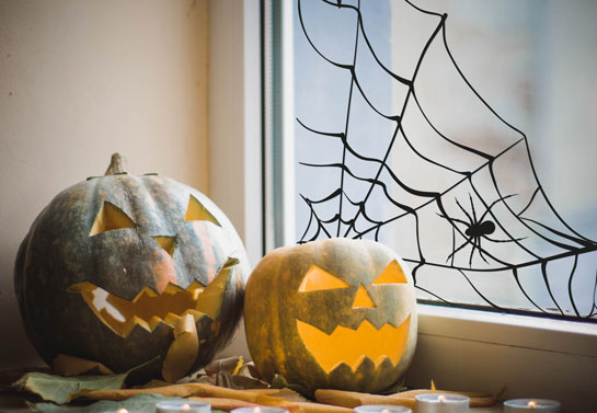 spider web Halloween window idea