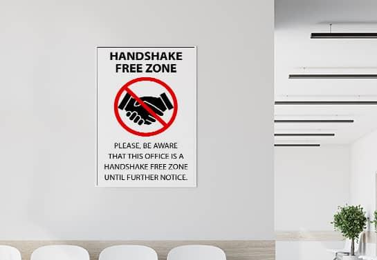 Handshake Free Zone coronavirus safety sign