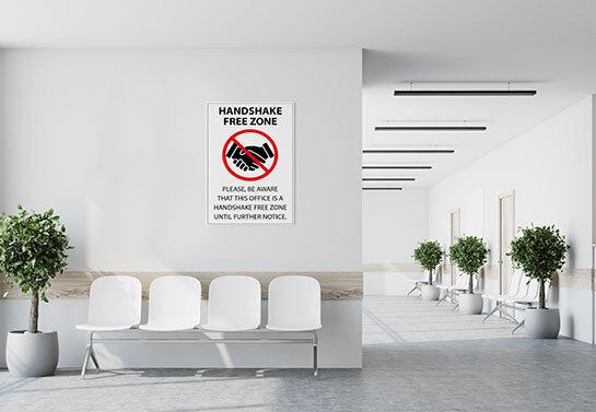 Handshake Free Zone workplace safety warning