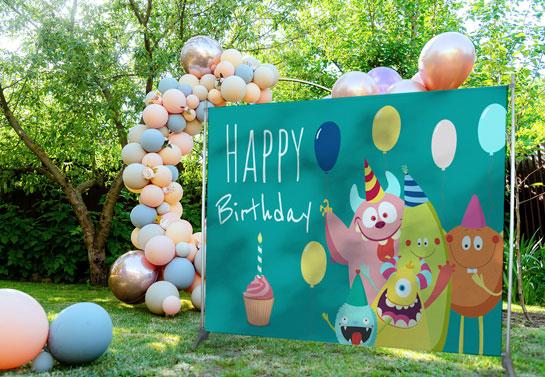 Backyard birthday party banner idea