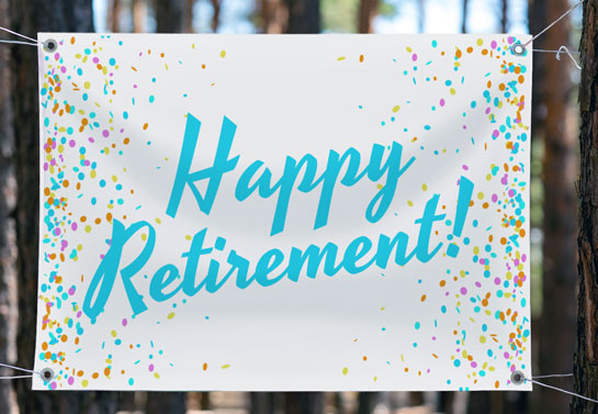 Happy Retirement colorful party banner idea