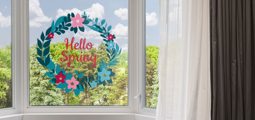 spring themed home window decorating idea with decals