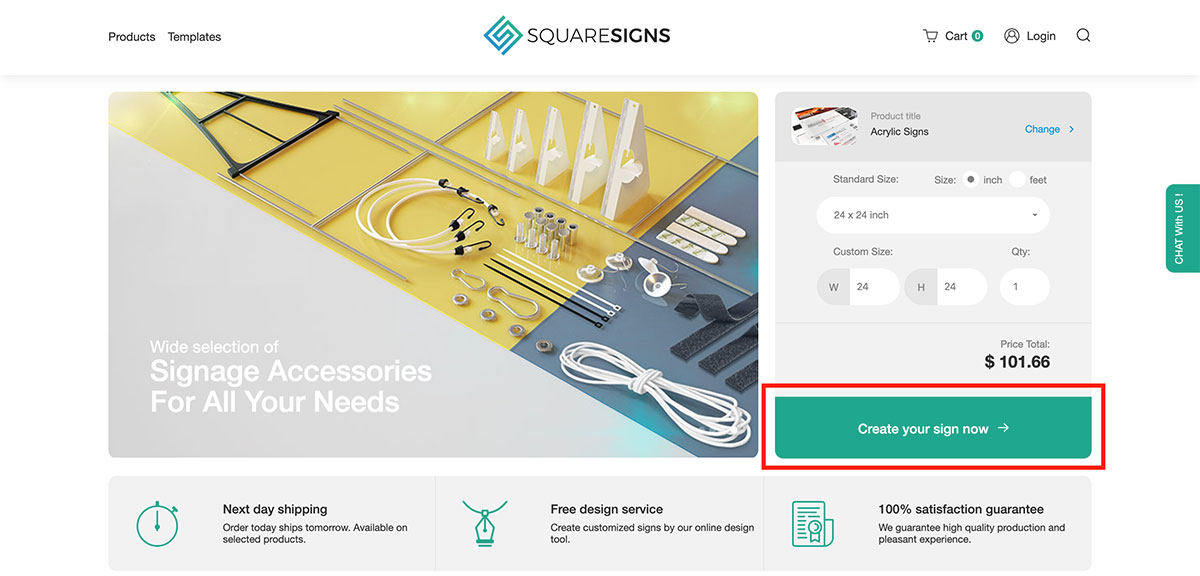 Squaresigns homepage screenshot