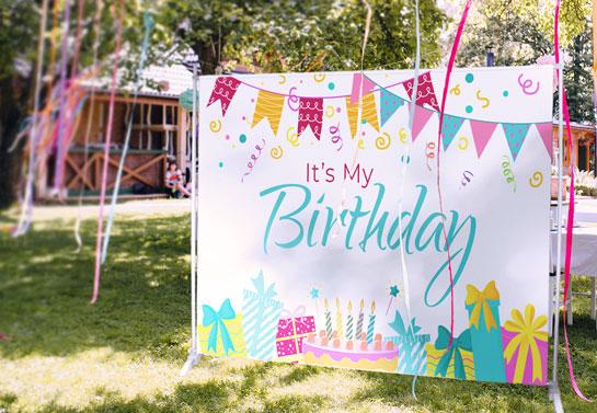 outdoor birthday decoration backdrop idea