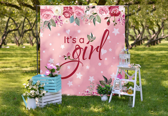 It's a Girl outdoor baby shower backdrop