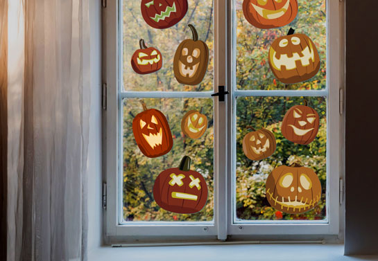 Jack-O'-Lanterns cute Halloween window decor