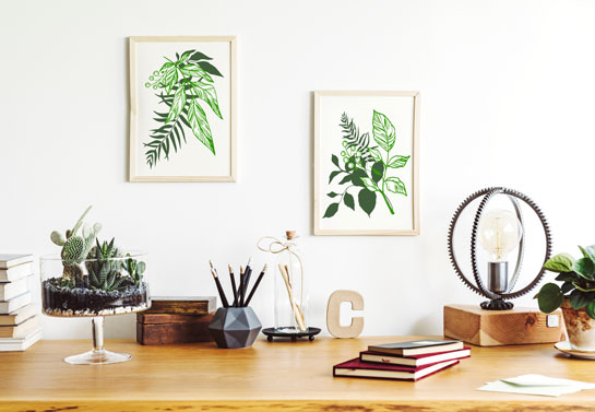 home office wall art with leaves prints