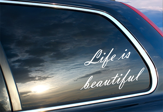 Life Is Beautiful car window decal idea
