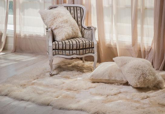 Living room area decorative faux fur rug