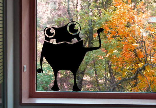 halloween window decoration idea with a monster shape