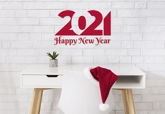 2021 Happy New Year decoration idea for office walls