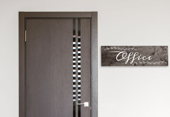 home office wooden sign for classic decorating style