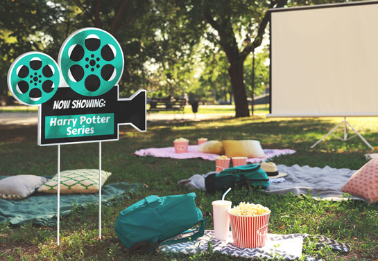 Now Showing outdoor movie night party decor