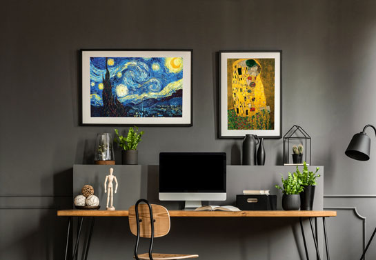 home office artwork idea with famous paintings