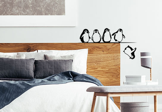 Penguin falling crazy wall decal