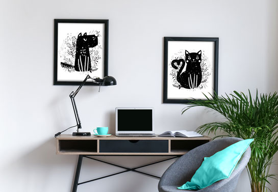 home office art idea with pet pictures