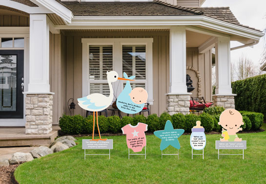 Cute outdoor baby shower decor with pregnancy facts