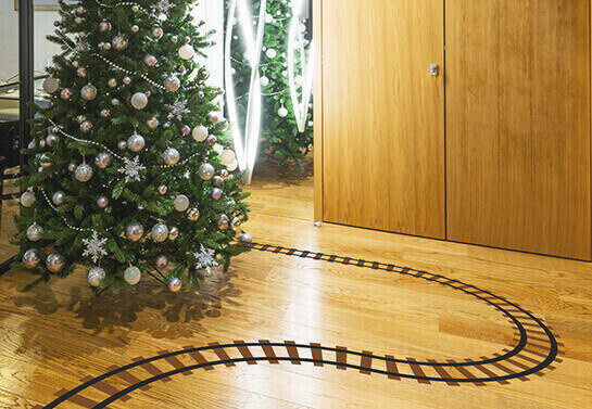 Sticky railway for cute office holiday decorating ideas