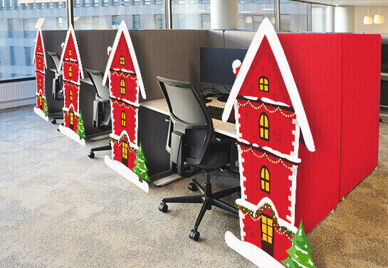 Red houses office cubicle Christmas decorating ideas