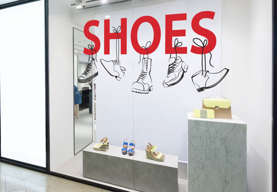 Shoes store window decal idea