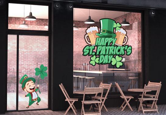 Happy St. Patrick's Day holiday window decoration with Leprechaun's hat