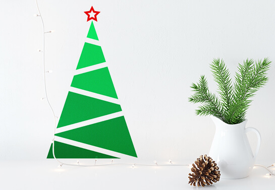 2D Christmas tree with geometrical shapes holiday wall decoration idea