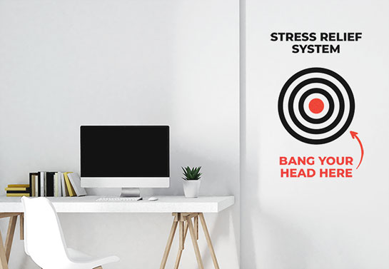 Stress relief funny home office wall decal