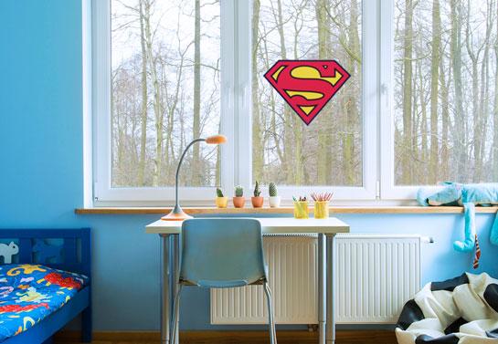 Superman symbol kid's room window decor