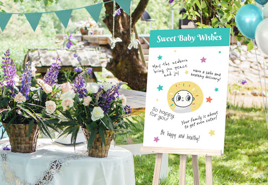 Board of wishes outdoor baby shower decoration