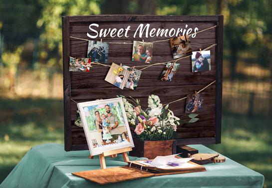 Sweet memories backyard birthday decoration idea