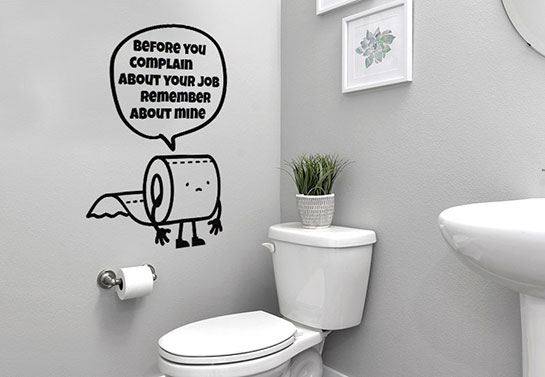 Toilet paper weird wall sticker
