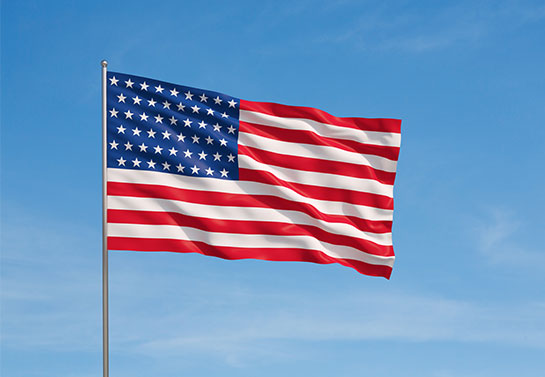 US flag banner for a political campaign