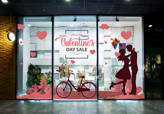 Valentine's Day Sale Holiday decorating idea for windows with a romantic couple print