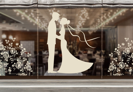 Romantic window decal with a dancing couple