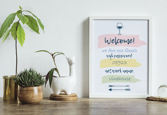 WiFi Password sign home office guest room decor
