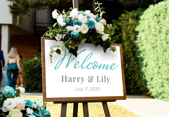 Welcome garden wedding board decor