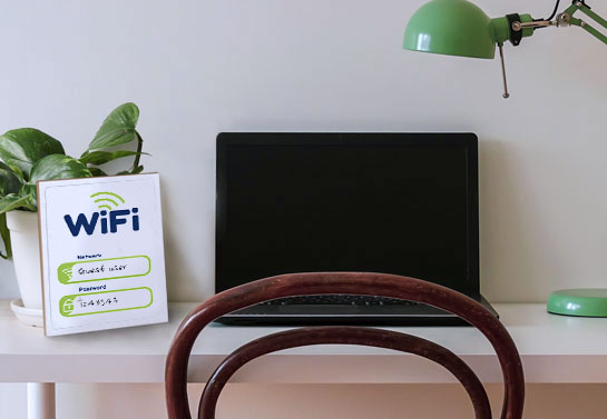 WiFi password wooden sign for practical home office decorating