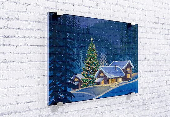 Office holiday decorating with winter scene print on wall