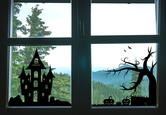 Halloween witch house of horrors window decoration
