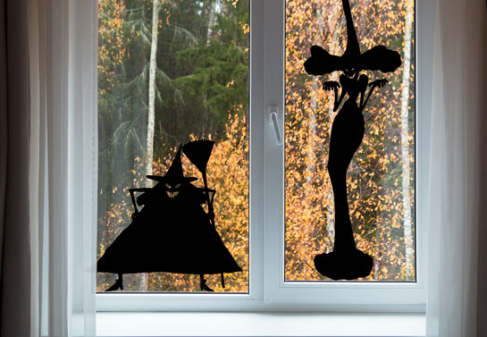 Halloween black witches window decor
