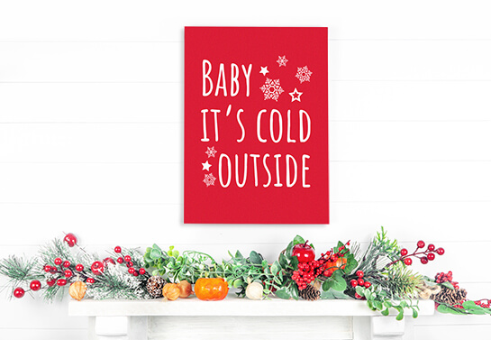 Baby it's cold outside wooden Christmas decoration ideas for office walls