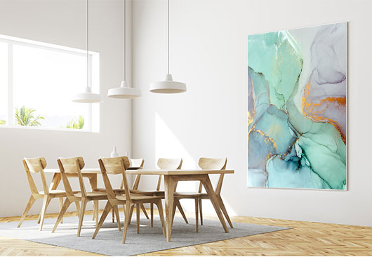 dining room abstract print decor idea