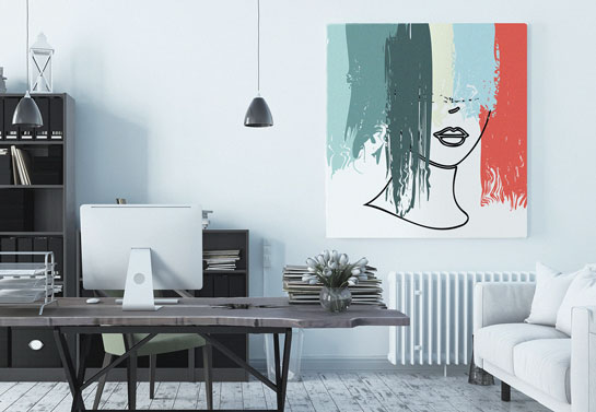 abstract woman canvas print for traditional home office