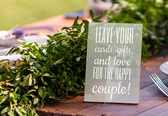 small acrylic wedding gift table sign idea