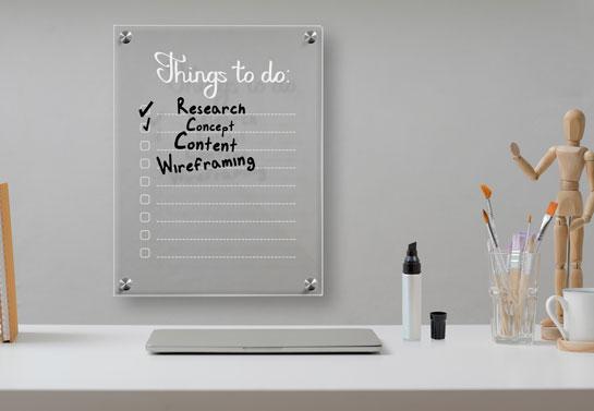 acrylic dry erase board small home office decor idea